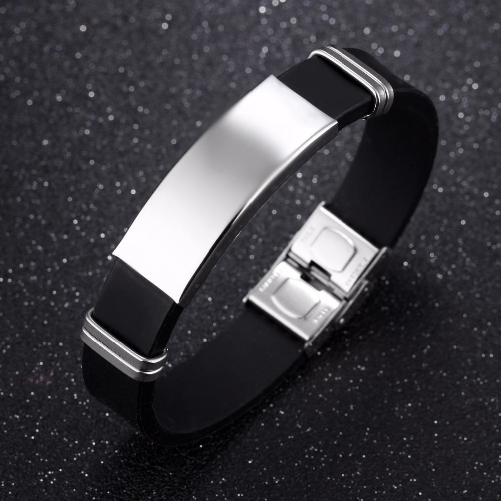 Black Silicone Cross Wristband Bracelet Stainless Steel Rubber Bangle With  Personalized Name Id(china (