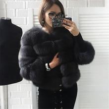 2016 New Fashion Short Natural Fox Fur Winter Warm Coat For Women Whole Skin Genuine Real Jackets Overcoat Feminino BF-C0021