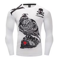 2017 Mens Fitness 3D Print Bird Long Sleeves T Shirt Men Bodybuilding Skin Tight Compression Shirts