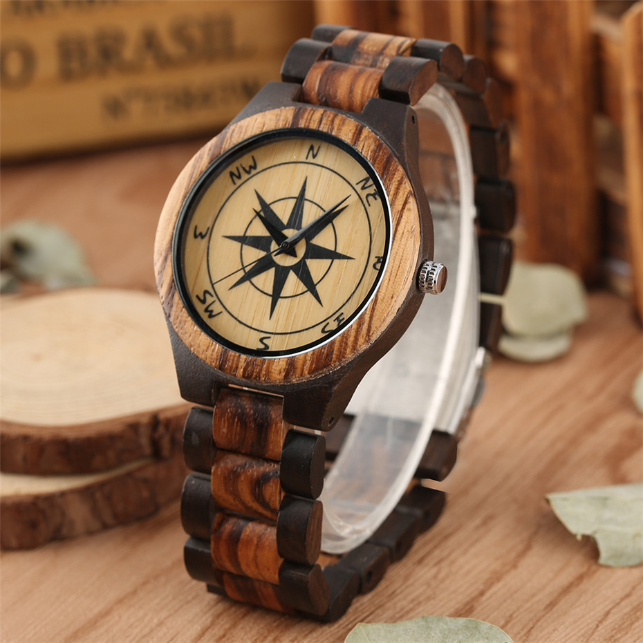 Stylish Compass Pattern Display Wood Watch Mens Watch Quartz Movement Solid Wooden Watchband Luxury Men's Timepiece New 2019(China)