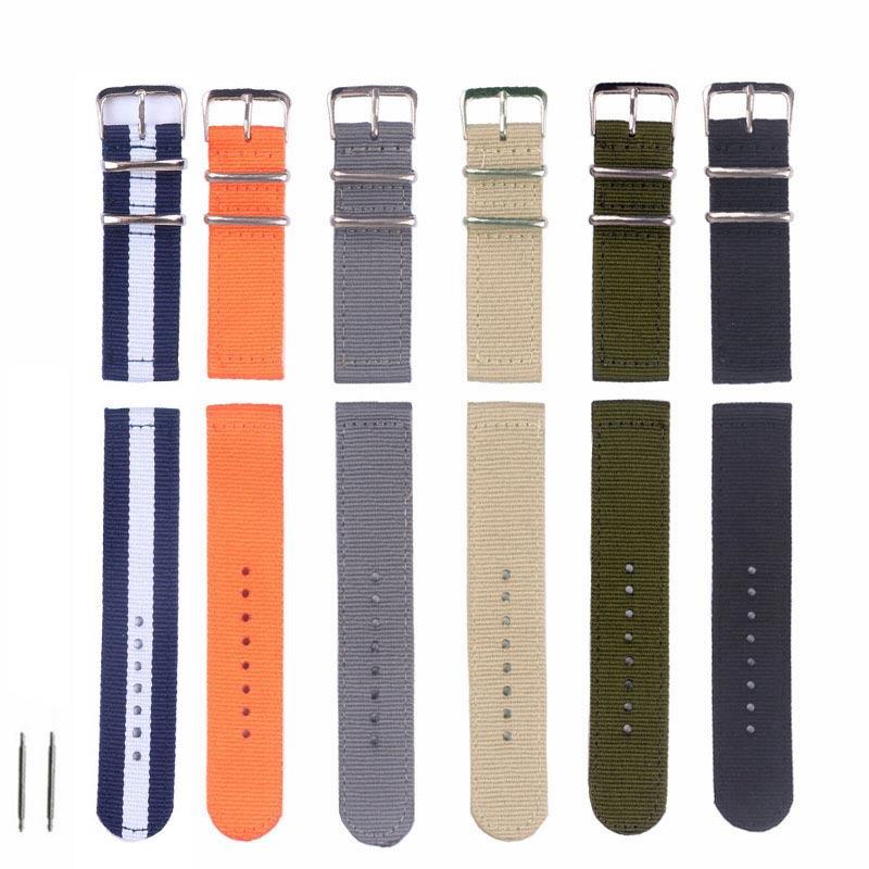 good quality waterproof thick outdoor Nylon fabric watch strap 24mm 22mm 20MM 18mm black orange band watch NATO Strap все цены