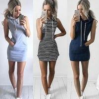 Hooded Summer Mini Dress Casual Sleeveless Women S Dress Online Shop Clothing Big Pocket Vestidos Dollar