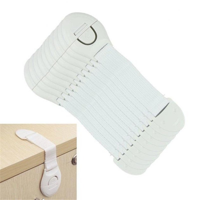 Child Kids Baby Care Safety Security Plastic Cabinet Locks&Straps Products For Cabinet Drawer Wardrobe Doors Fridge Toilet 10Pcs