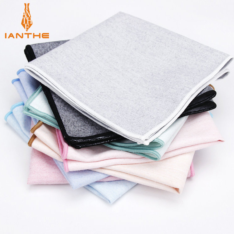 High Quality 100% Cotton Classic Suits Solid Pocket Square 25cm*25cm Men's Vintage Striped Handkerchiefs Chest Towel Hankies