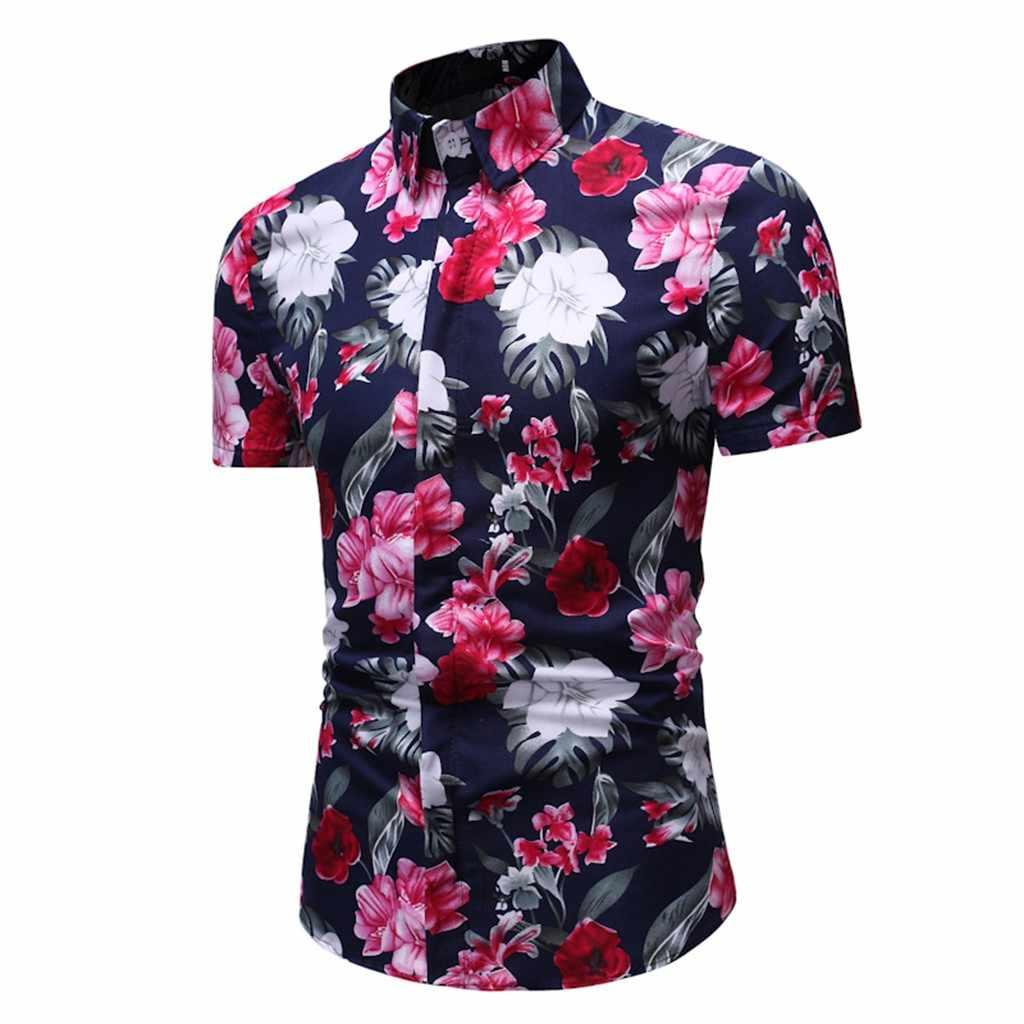 2019 新着男性ファッションカジュアル夏の木の花ハワイのスタイル半袖シャツメンズアロハシャツ半袖