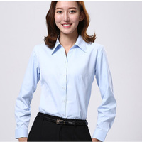 Elegant Blouse White Shirt Women Office Ladies Shirts Long Sleeves Formal Casual Cotton Blouses Turn Down Collar Shirt ZL010