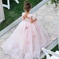 Luxury Flower Girl Dress For wedding Hand Flower Prom Dresses Little Girl Birthday Party Dresses Bow Pageant Dress Free Shipping
