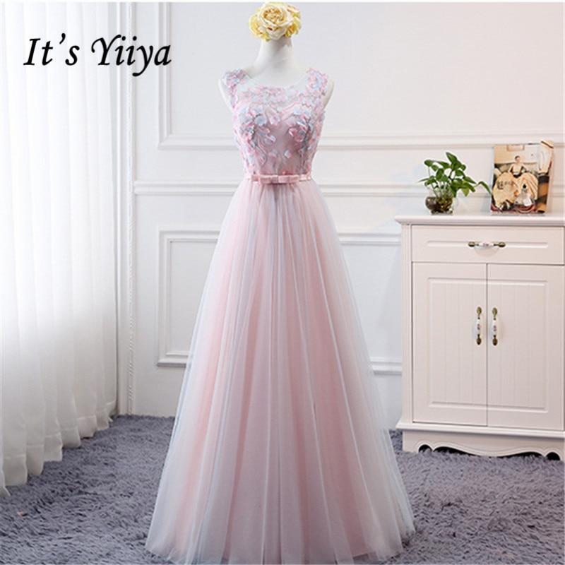It's YiiYa Bridesmaids Dresse for Lady Formal Dress O Neck Sleeveless Flowers Appliques Sales Elegant Fashion Designer B043