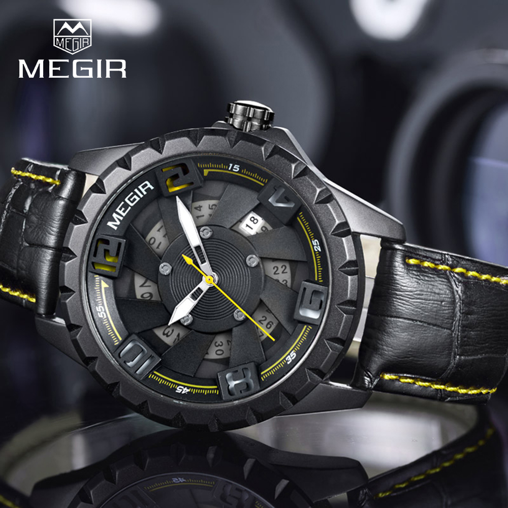 MEGIR 1074 Mens Watches Top Brand Luxury Male Business Clocks Sport Military Army Clock Date Leather Strap Men Watch with Box forsining top brand luxury men s wrist watch men military sport clock hand wind mechanical watches male business skeleton clocks