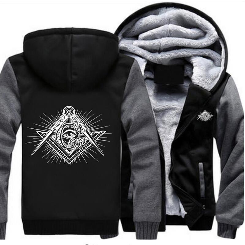 Hommes noir veste nouveau Logo maçonnique hiver chaud manteau décontracté à capuche Zipper Hoodies Outwear-in Vestes from Vêtements homme on AliExpress - 11.11_Double 11_Singles' Day 1