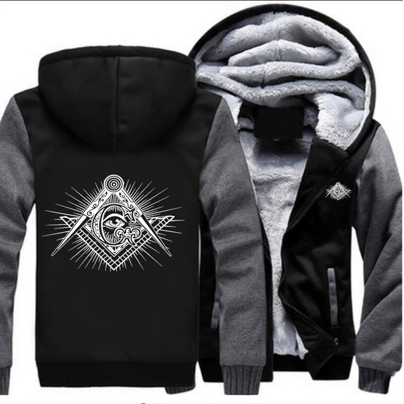 Men Black Jacket New Masonic Logo Winter Warm Coat Casual Hooded Zipper Hoodies Outwear