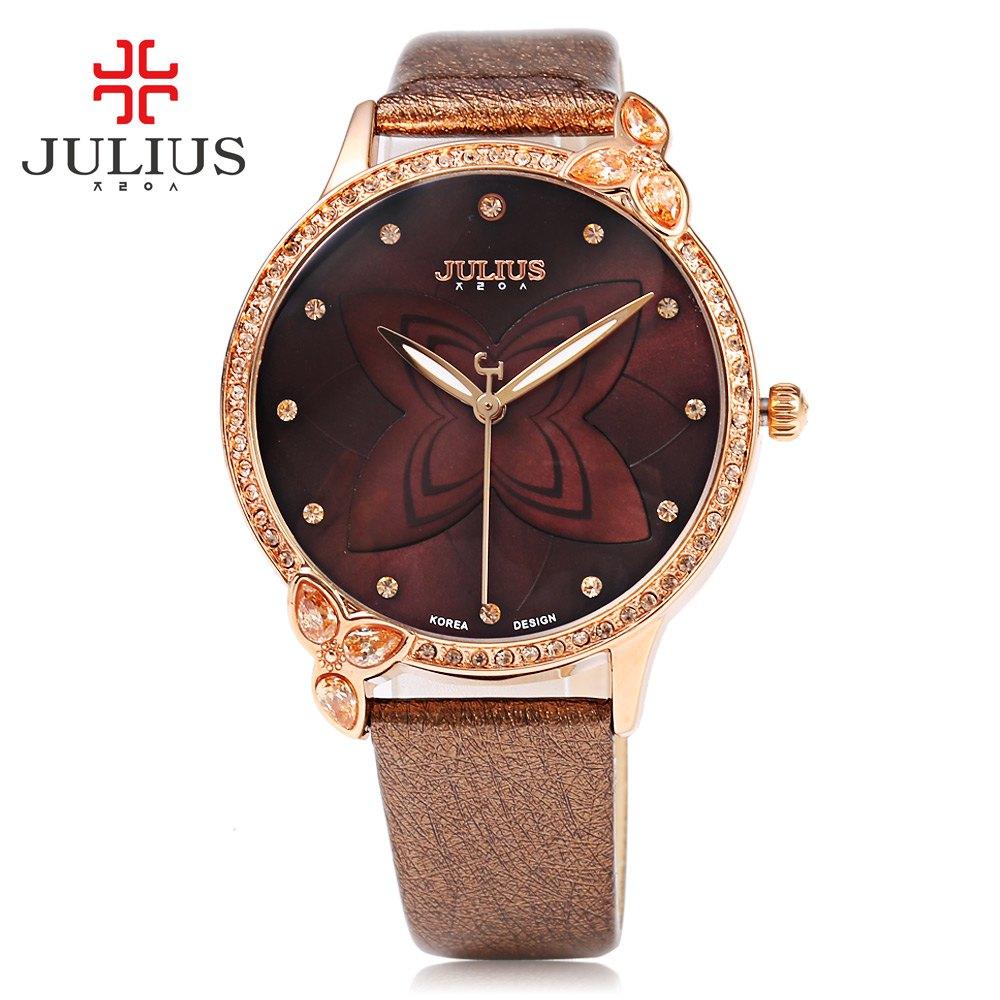 cee6510da أعلى ماركة يوليوس النساء اللباس ووتش مقاومة الاصطناعية الماس الهاتفي جلدية  باند أنيقة كوارتز ساعة اليد relogio