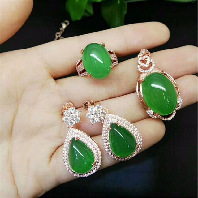 Natural Stone Gem Jade Earrings 925 Sterling Silver Drop Women Jewelry Vintage Ring Necklace
