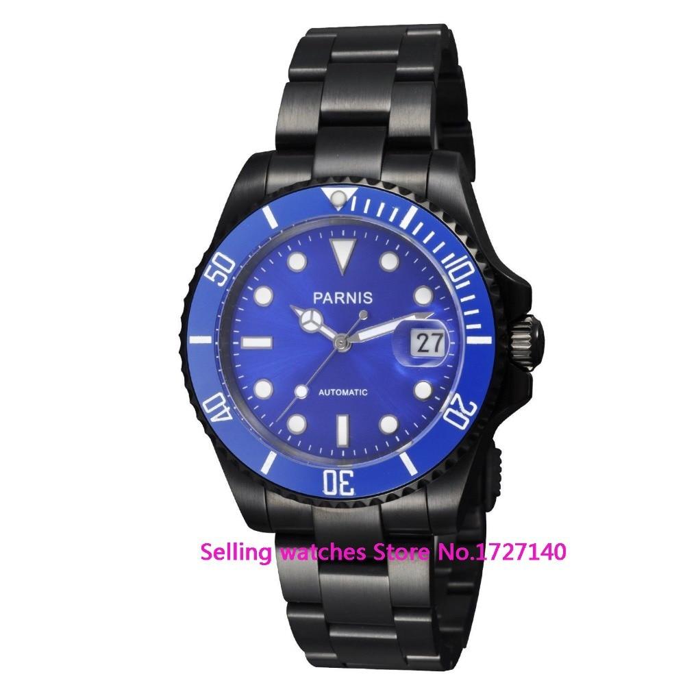 40mm Parnis Men Sapphire Crystal Miyota Automatic PVD Watch все цены