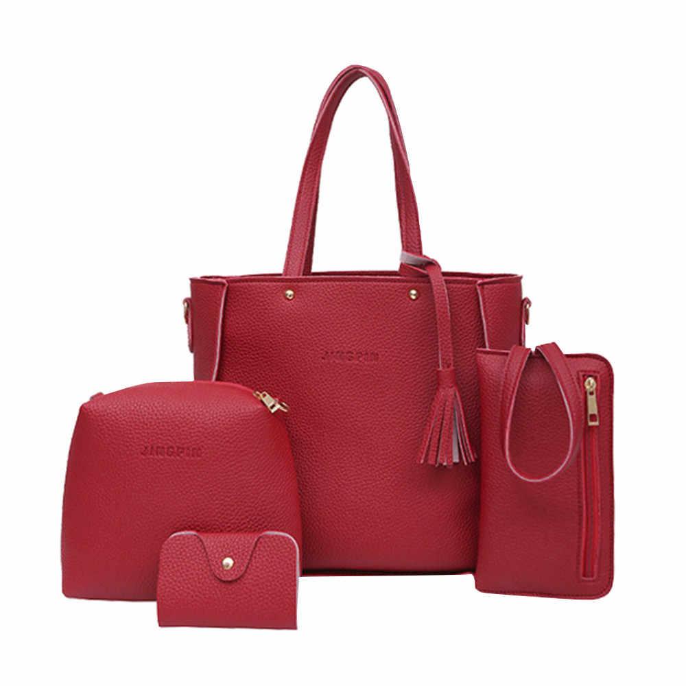 Muqgew bolsas de couro pu femininas, 4 unidades, casuais, bolsa de ombro, grande capacidade, carteira, cor sólida, suporte para cartões, atacado