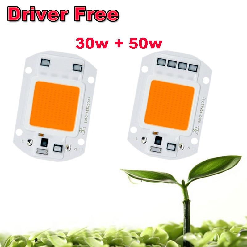 1pcs 30w 50w Hydroponics LED Driver Free LED Grow Light AC 220V Full Spectrum LED COB