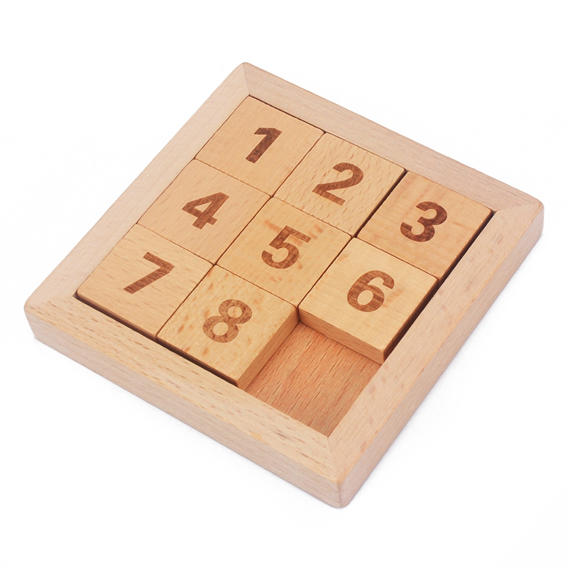 Hottest Classic Educational Wooden Toys 8 Puzzle Algorithm Eight Sliding Tiles Beech Wood Digits from 1 to 8 Adult Brains Toy