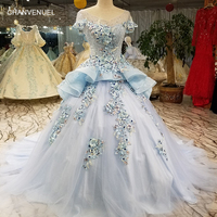 LS5580 light blue pageant dress for lovely girls quick shipping from china online shop o neck cap sleeves cheap prom dress 2018