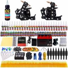 Solong-Stigma Tattoo Starter Complete Tattoo Kit 2 Machine Guns Complete Set Power Box 54 Colors Inks Needles Grips Tips  TK256