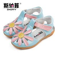 Snoffy летняя детская обувь натуральная кожа цветы сандалии для девочек с закрытым носком дети принцесса обувь одежда для малышей Сандалии TX163