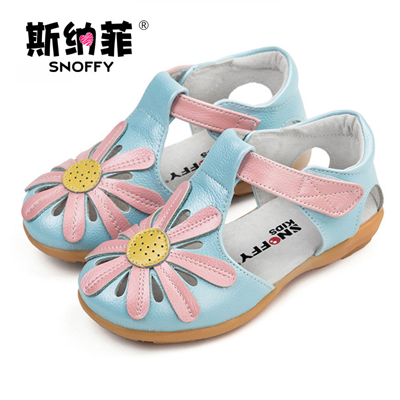 Snoffy Summer Children's Shoes Genuine Leather Flowers Girls Sandals Close Toe Kids Princess Shoes Toddler Baby Sandals TX163