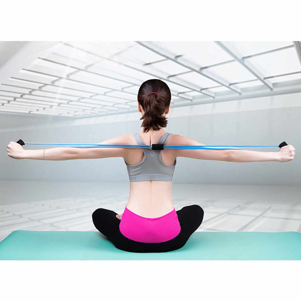 Joga Pilates Fitness opór ramienia 8 słowo ekspander klatki piersiowej liny Workout mięśni gumy lateksowej opaski stretchowe do ćwiczeń sportowych # p4