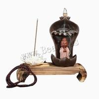 Backflow Incense Burner Incense Holder Aromatherapy Ceramic Buddhist Kuanyin Zen Censer + 10Pcs Incense Cones
