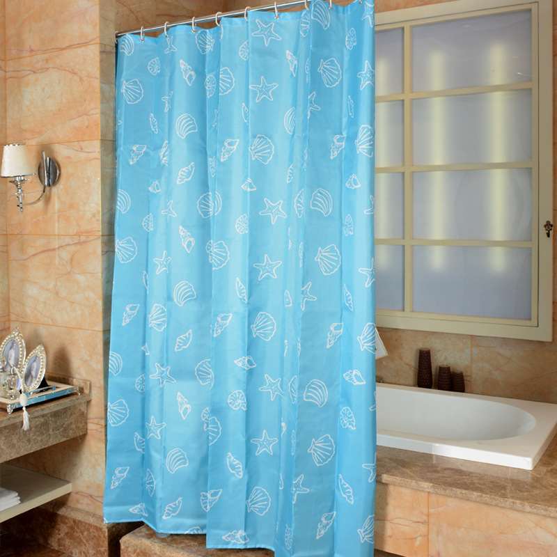 Mediterranean Style Shower Curtain Shell Blue Curtains Waterproof Anti Mildew Bath For Bathroom Cortina Ducha In From Home
