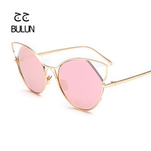BULUN 2016 Luxury Cat Eye Mirror Sunglasses Women Fashion Brand Designer Coating High Quality Glasses  For Female Oculos UV400