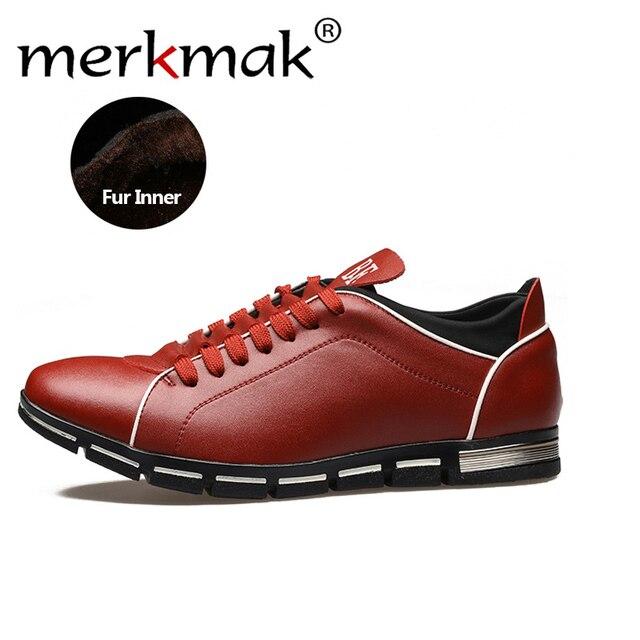 Merkmak nuovo uomo scarpe oxford 2017 stile britannico moda casual calda  Pelliccia Interna Scarpe Invernali Lace 795090d78fa