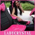 Almofadas de automóveis ladycrystal personalizado diamante de cristal lã de pelúcia tampas de assento do carro