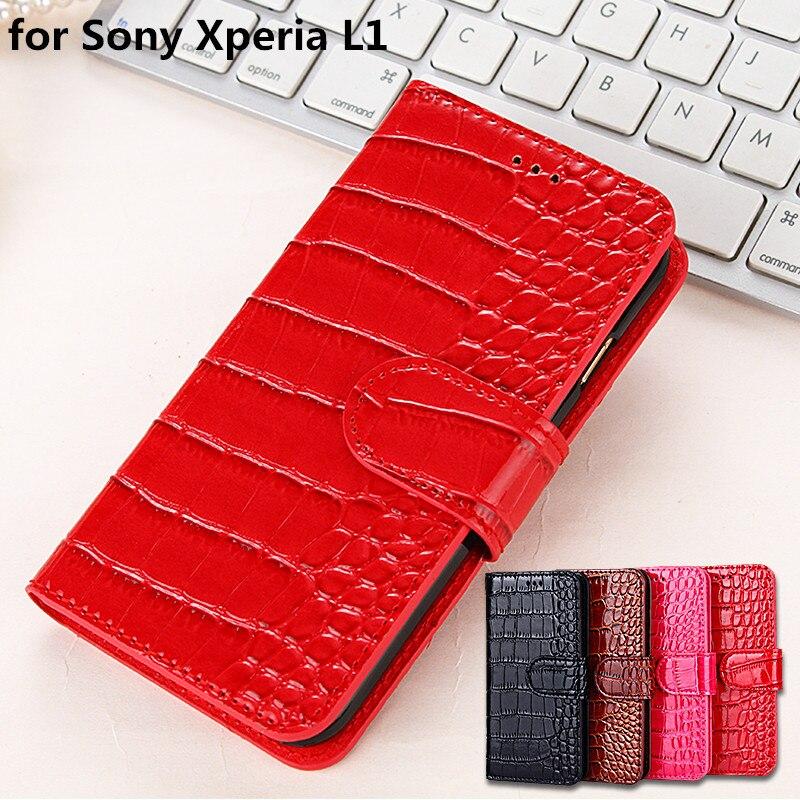 Роскошный чехол для Sony <font><b>Xperia</b></font> <font><b>L1</b></font> Флип Бумажник кожаный чехол для Sony <font><b>L1</b></font> случае телефон с гнездами для карт
