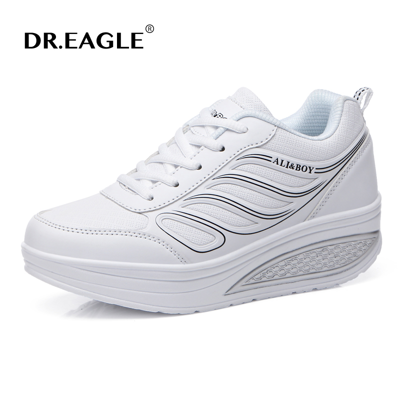 DR.EAGLE Sneakers Swing-Shoes Slimming Women's Toning Platform Breathable Wedge Light-Weight