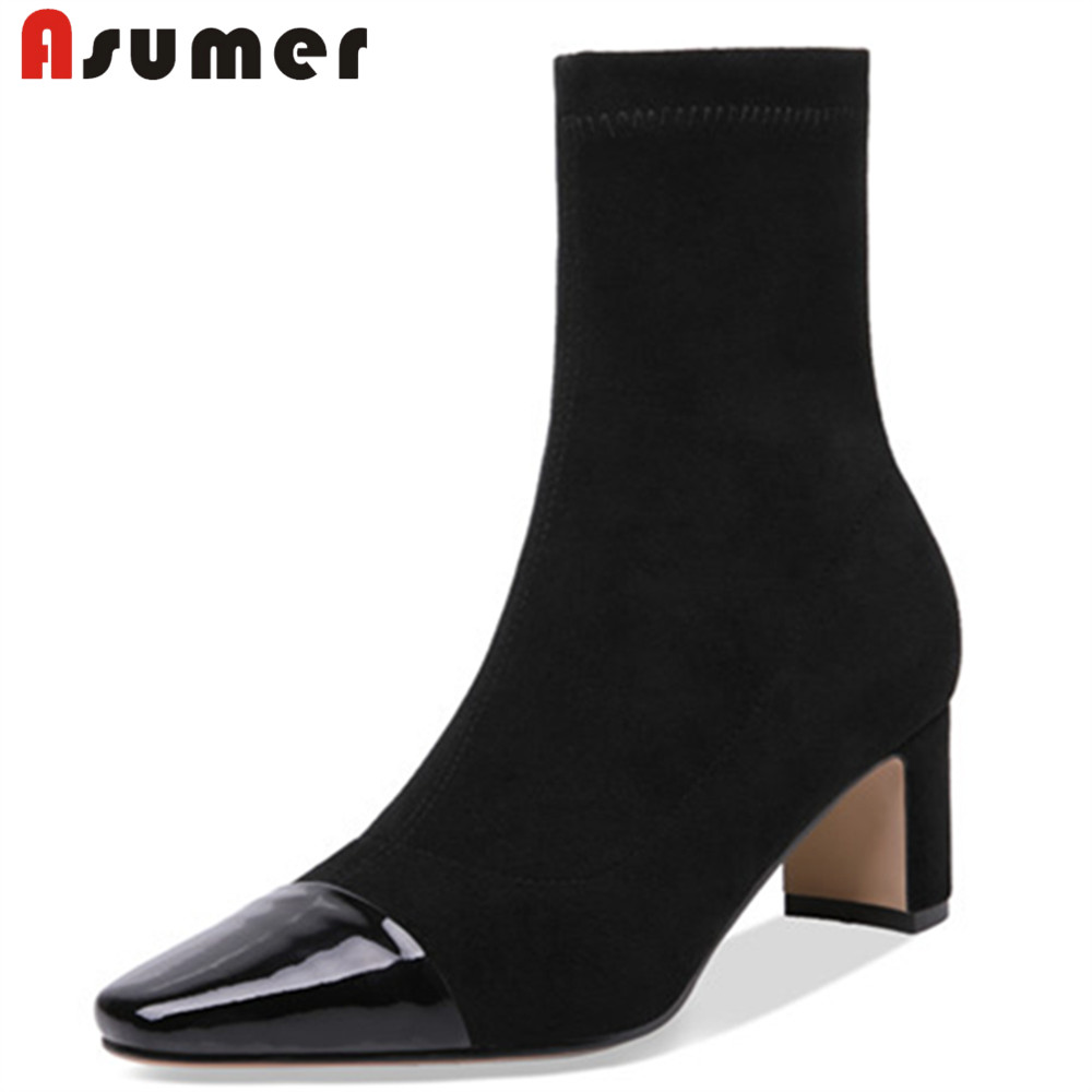 ASUMER fashion autumn winter shoes woman pointed toe ladies boots thick heel ankle boots women suede leather high heel shoes купить в Москве 2019