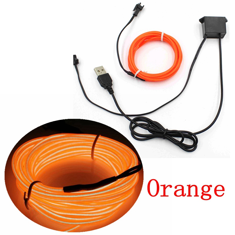 1/2/3/5/10M EL Wire With 5V USB Controller Neon Light LED lamp Flexible Twinkle Glow Rope Tube Wire Waterproof LED Strip