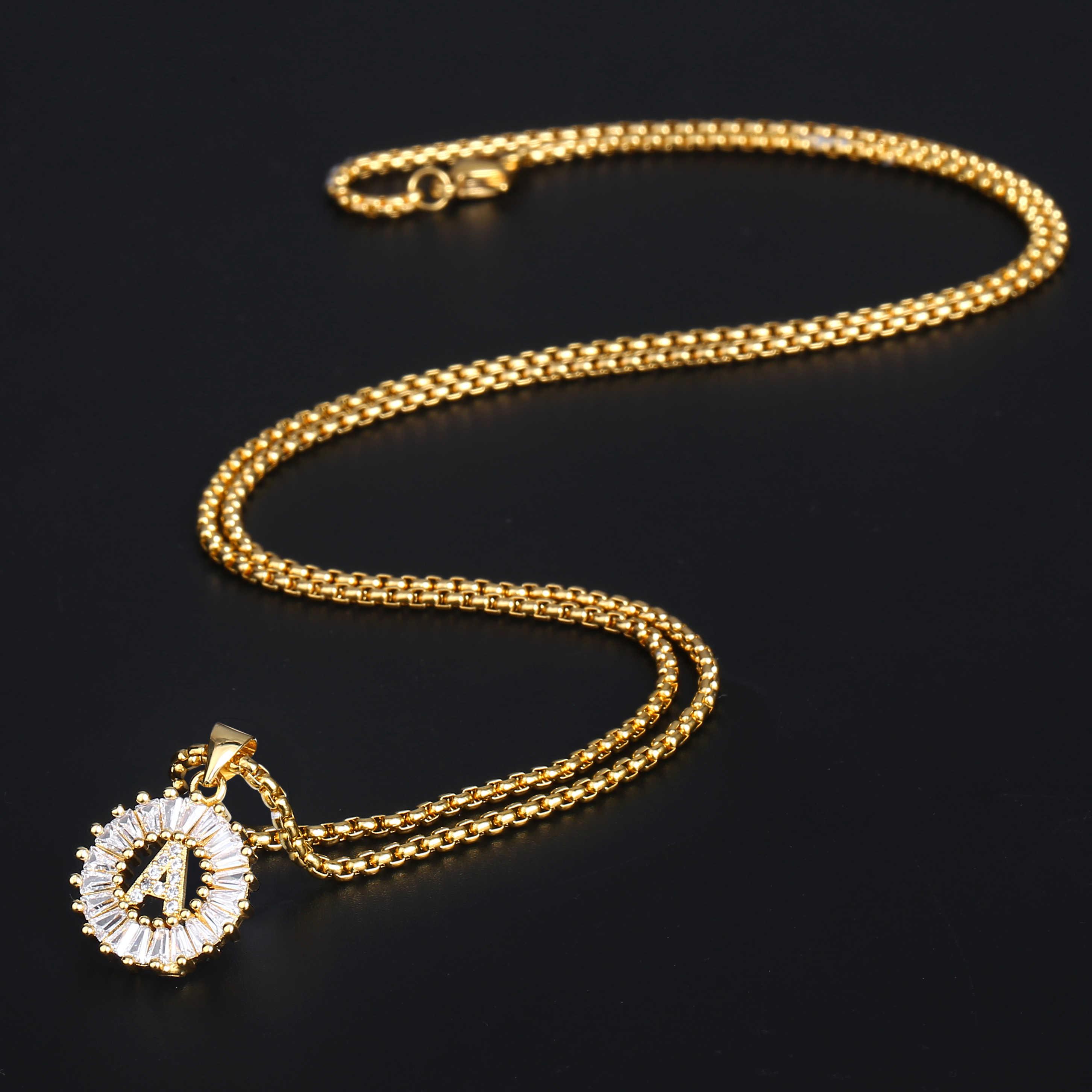 CZ początkowe litery od A do Z naszyjnik Z wisiorkami w kształcie liter dla kobiet mężczyzn Rhinestone złoty wypełniony łańcuch okrągły wisiorek litera GP399