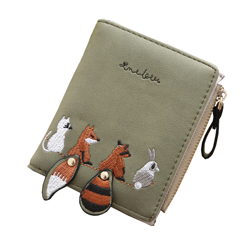 Homeda Purse Pu Woman Cute Foxes Wallet Decor Change Card Money Photo Holder Zipper Girls Polyester