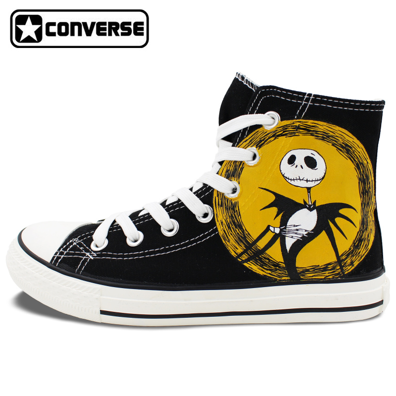 Black Nightmare Before Christmas Jack Skellington Deign Converse All Star Hand Painted font b Shoes b