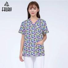 bcde90bb038bb Women Doctors Nurses Short-sleeved Uniform Cotton Pattern Surgical Clothes  Dental Clinic Beauty Salon Workwear