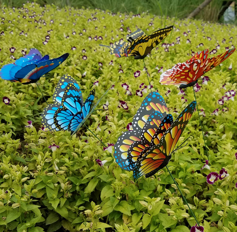 25Pcs 22cm Colorful 3D Double Layer Butterfly On Sticks Home Yard Lawn Flowerpot