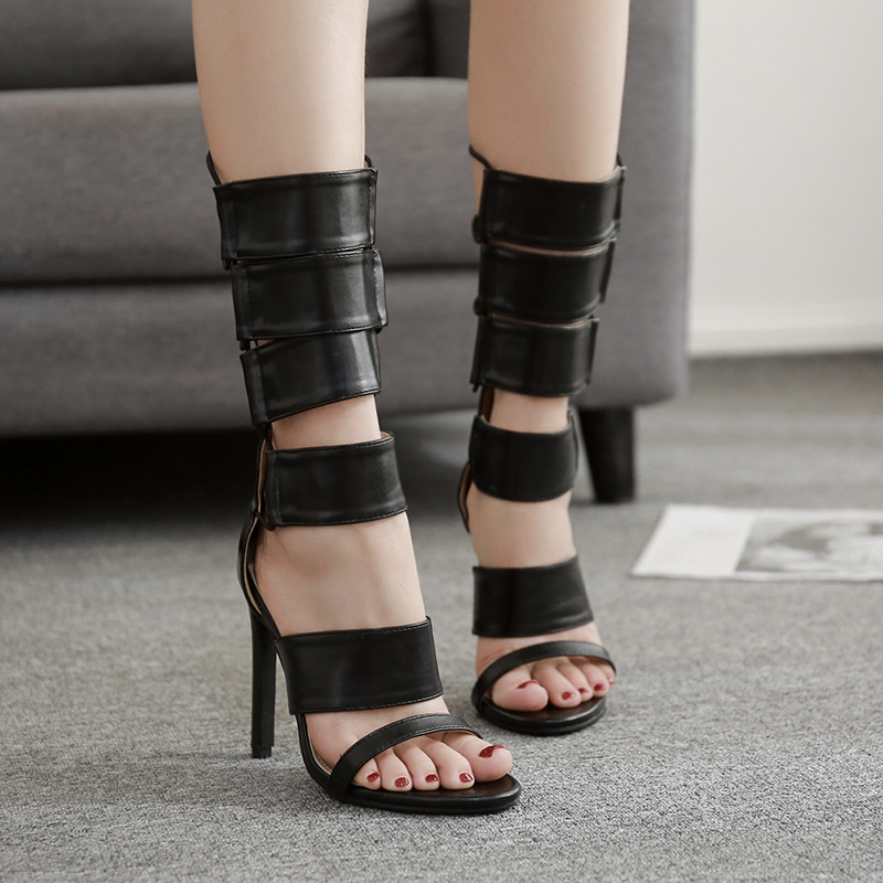Botas As Genuino Cuero Sandalias Verano Moda Superior Toe Roma Negro Frescas Frework Mujer Goma Mujeres Señora Zapatos Show De Peep 5UXwpwq