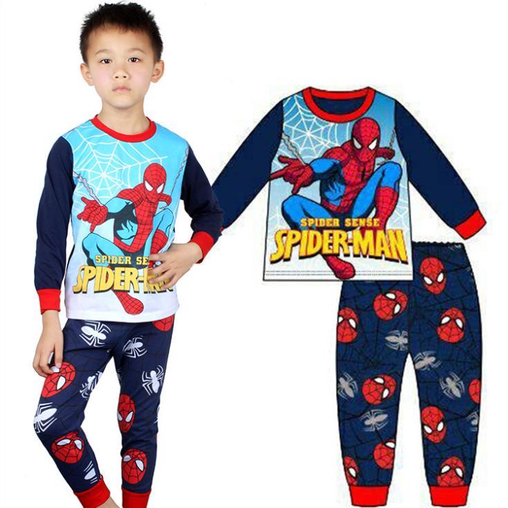 <font><b>Spiderman</b></font> <font><b>Costume</b></font> <font><b>Kids</b></font> <font><b>Pajama</b></font> <font><b>Sets</b></font> Cartoon Cotton Long Sleeve Tops T Shirt Pants Children Sleepwear Baby Boys Clothing Pyjamas