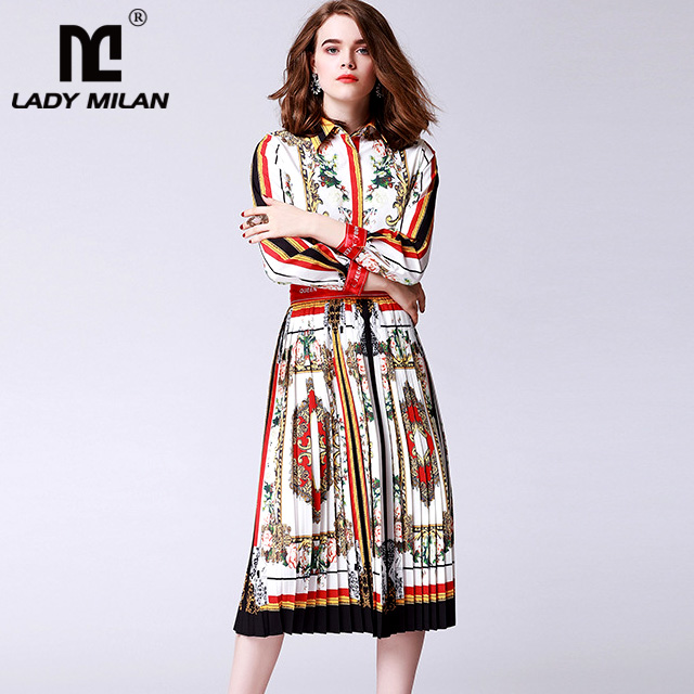 New Arrival Womens Turn Down Collar Long Sleeves Printed Shirts with Pleated Fashion Two Piece Dresses Casual Sets
