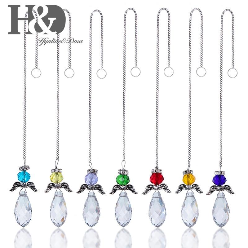 H&D Set/7pcs Chakra Crystal Suncatcher Glass Angel Drop Pendant Rainbow Maker Collection Home Garden Window Hanging Decorative