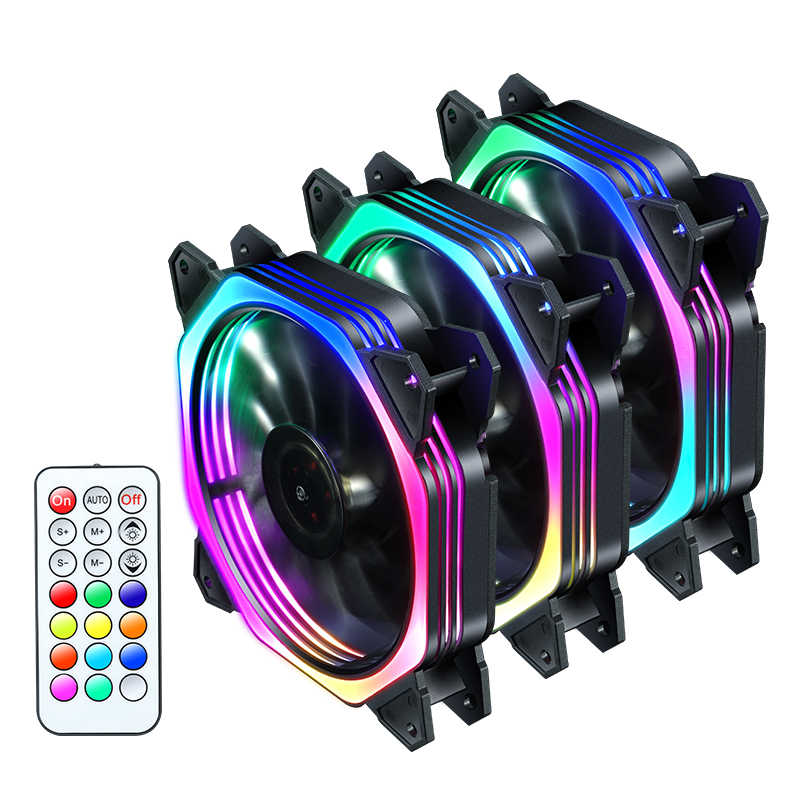 Pwm cpu rgb fan 120mm fanı bilgisayar PC kasa fanı RGB ayarlamak LED Fan hız 120mm sessiz uzaktan bilgisayar soğutucu soğutma RGB kasa fanlar