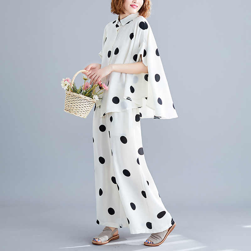 Johnature Summer 2019 New Korean Women Two Piece Set Top And Pants Casual Loose Polka Dot tops Elastic Waist Wide leg pants