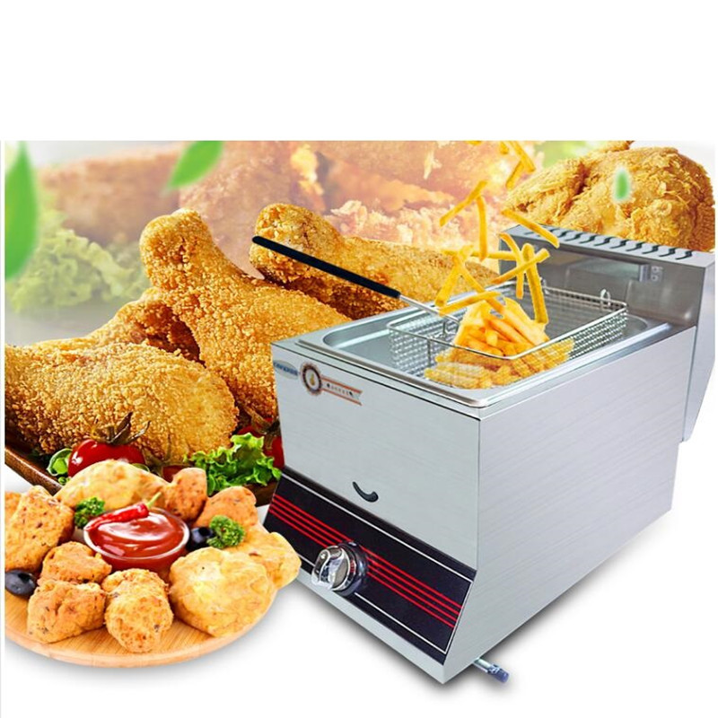 Commercial Gas Fryer Chicken French Fries Frying Furnace Pot Gas Commercial Food Frying Machine For Household Or ShopCommercial Gas Fryer Chicken French Fries Frying Furnace Pot Gas Commercial Food Frying Machine For Household Or Shop