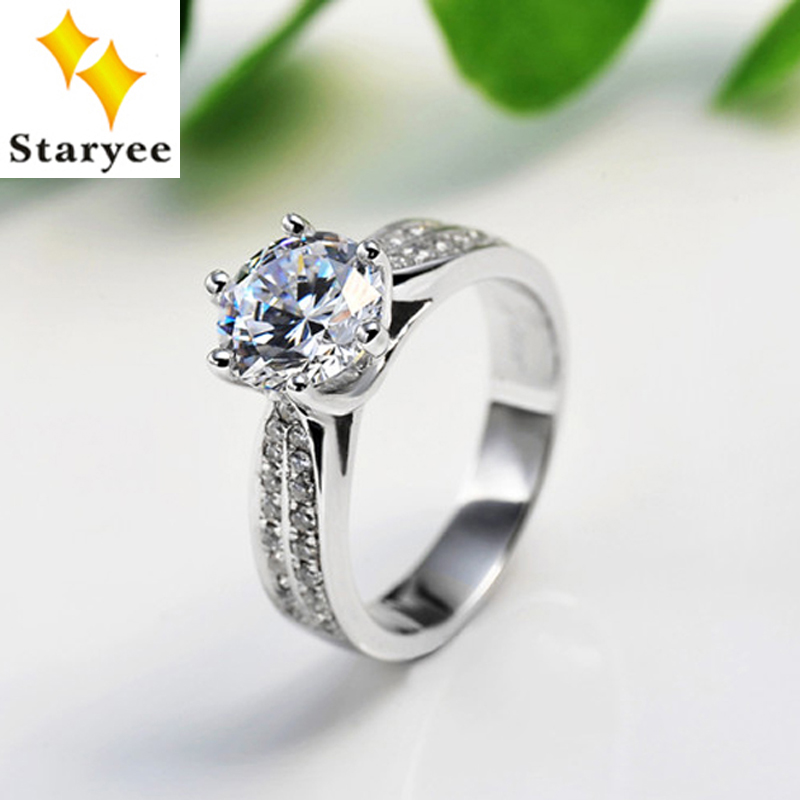 1 Carat Round Brilliant Forever One Moissanite Pure 14K Solid White Gold Engagement Rings For Women 0.25CT Accent Diamonds VS H