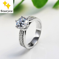 1 Carat Round Brilliant Cut Moissanite Pure 14K Solid White Gold Engagement Rings For Women VVS