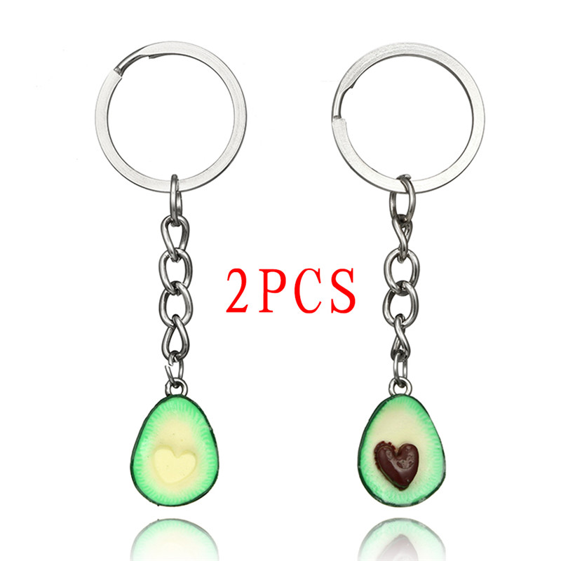 1Pc Couples Jewelry Fruit Key Chain Ring Keyring Couple Bag Chain 3D Printed Soft Pottery Avocado Keychain Jewelry